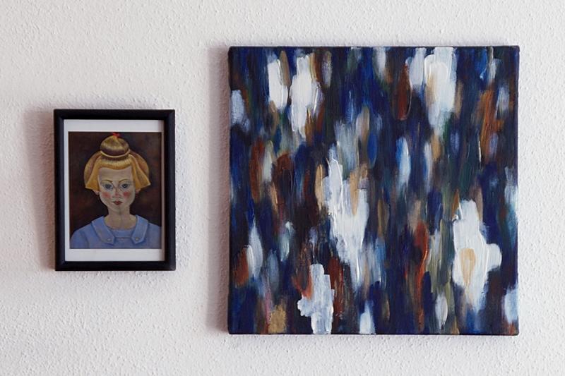 Acrylmalerei abstrakt weiß blau gold braun Kunst als Dekoration