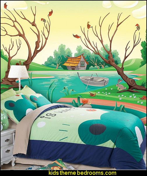 Green Lovely Frogs Kids 4-Piece Duvet Cover Set A Pond in the Country wall mural