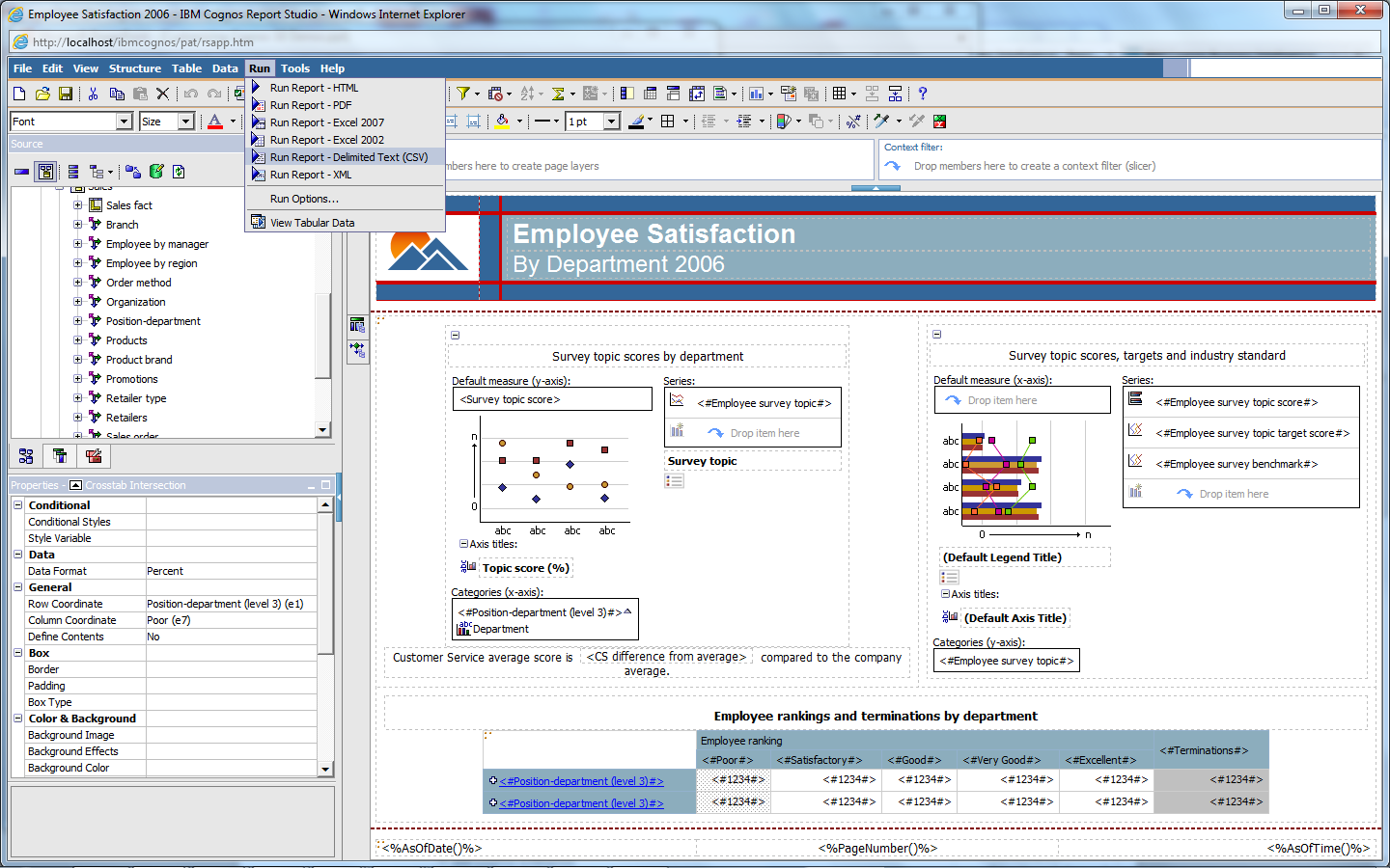 Cognos 2 Report Studio, date-to-string