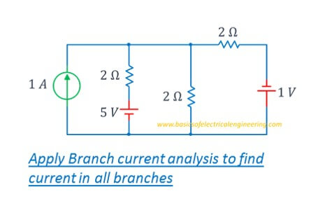 branch current analysis in 3 loop circuit