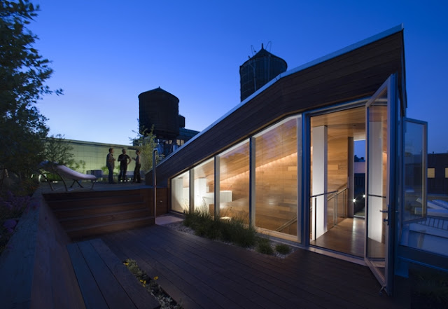 Photo of rooftop terrace at night