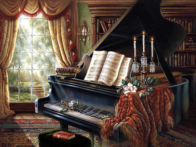 piyano temalı dekupaj resim