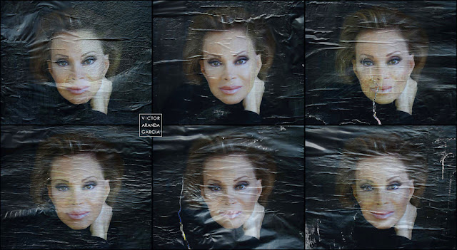 Composición de seis fotografias de seis carteles de la cantante Paloma San Basilio