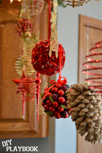 Christmas ornaments in coordinating colors look great in a floating arrangement,