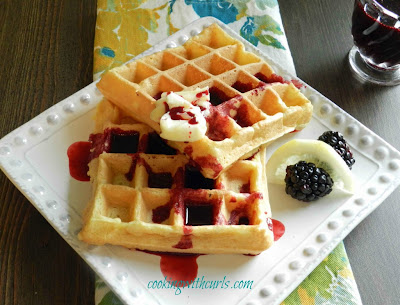 Cooking with Curls: Lemon Belgian Waffles w/ Blackberry Syrup