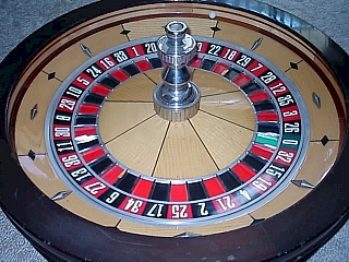A roulette wheel which is used in many casinos a for gambling