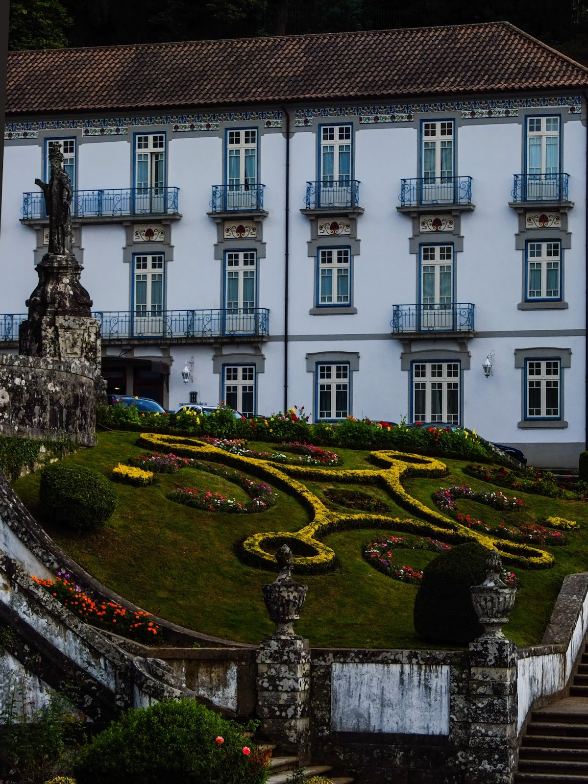 Stunning building and gardens in front of the church at the Bom Jesus Sanctuary, Braga, Portugal.