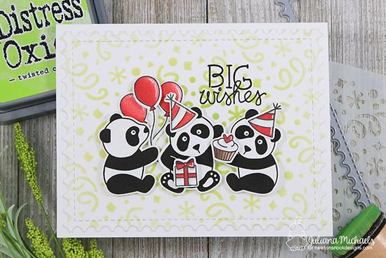 Panda Birthday Card by Juliana Michaels | Playful Pandas Stamp Set and Confetti Stencil by Newton's Nook Designs #newtonsnook #handmade