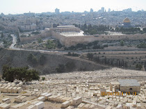 World's oldest and largest Jewish cemetery looking over Old City of Jerusalem and Dome of The Rock