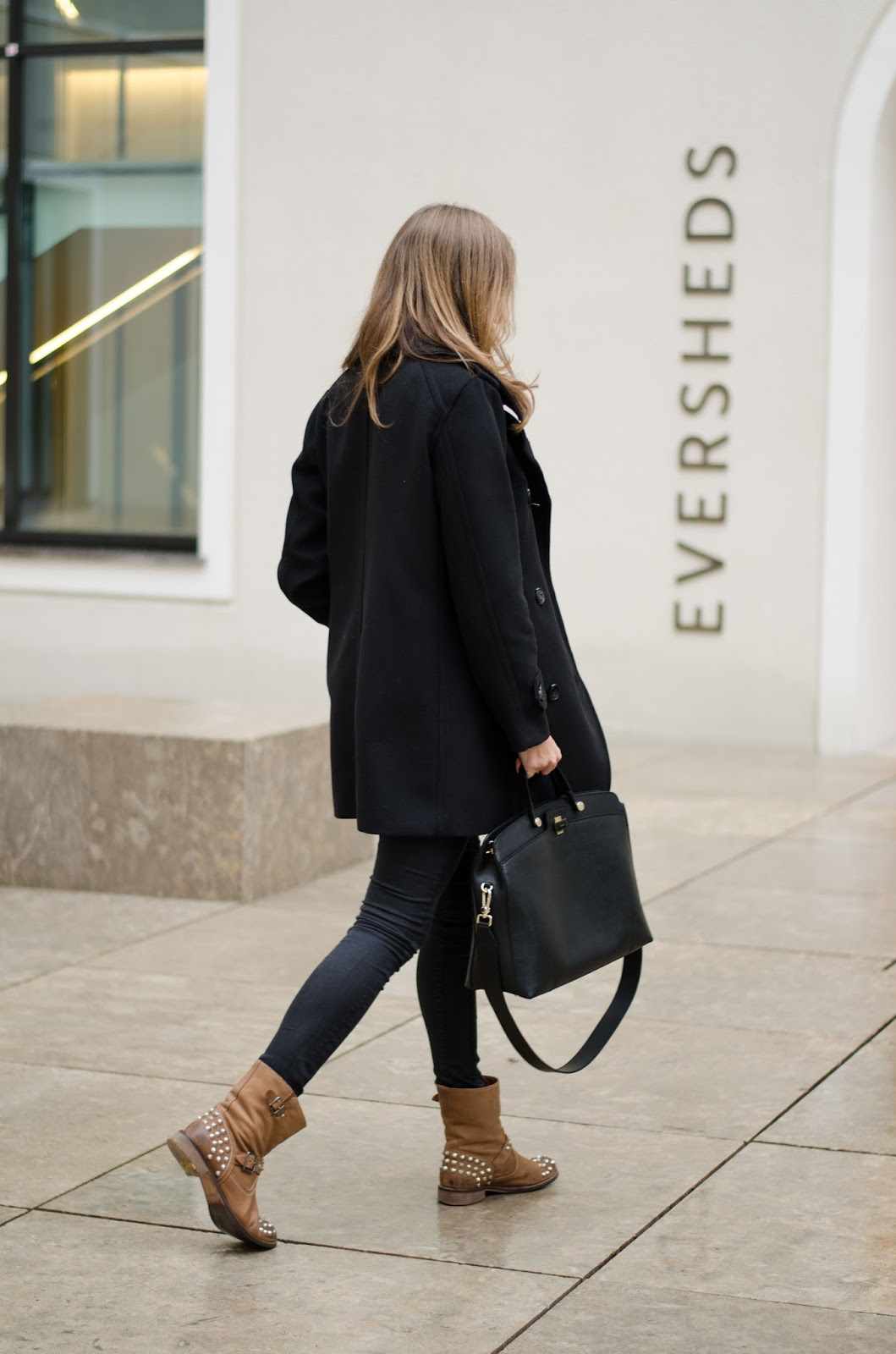 kristjaana mere black pea coat black skinny jeans studded ankle boots fall outfit