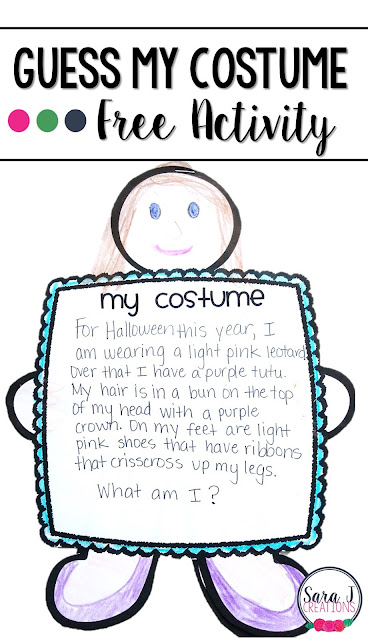 Free guess my costume Halloween writing activity for students who are so excited to share their Halloween costume with their classmates.