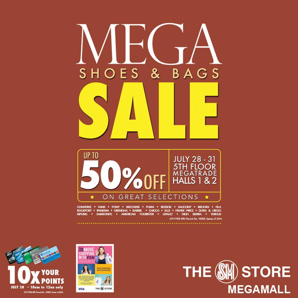 The SM Store's Shoes and Bags Sale. Sports Central's Nike Adidas Clearance Sale SM Megatrade Hall April 9 13, SM Megatrade Hall 1, 5th Level, Mega B, SM Megamall.