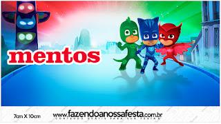 Etiquetas de Mentos de Super Héroes en Pijamas para imprimir gratis.