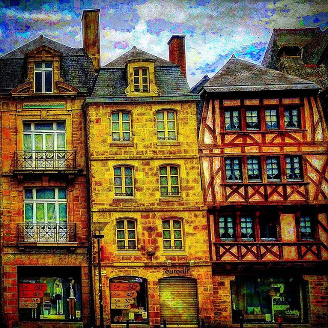 Old Wooden houses in quimper city center