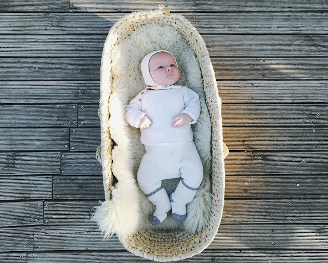 Adorable baby cosy in a basket