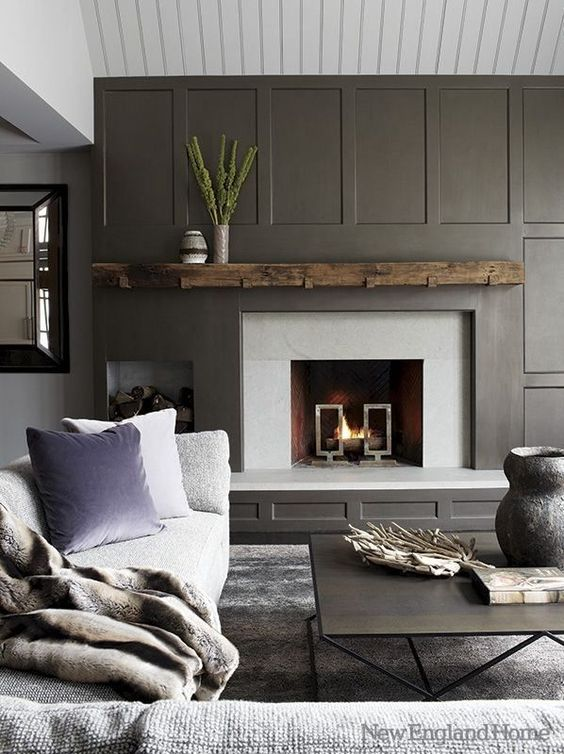 grey focal wall fireplace