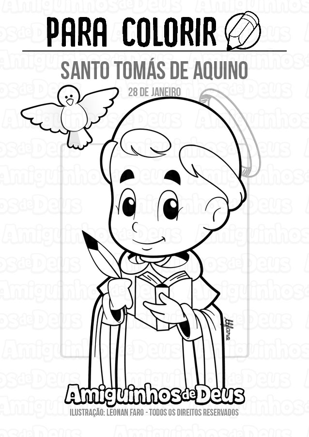 Santo Tomás de Aquino desenho para colorir