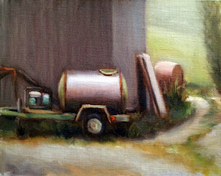 Oil painting of a water tank on a trailer beside a shed surrounded was assorted farm rubbish.