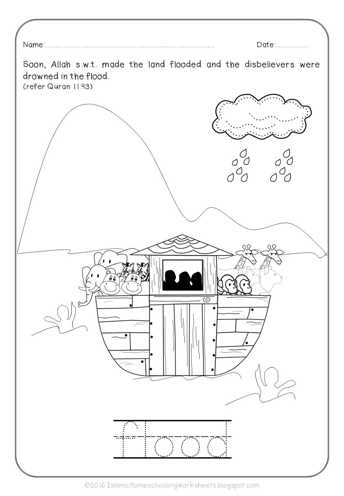 Islamic Coloring Pages Pdf : Free islamic coloring sheets prophet nuh and the ark
