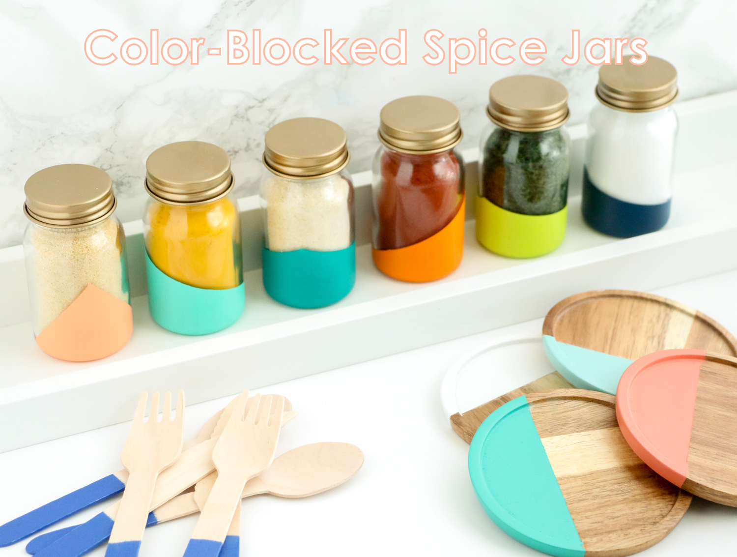 diy and gold topped spice jars to help you organize and beautify your pantry or - Spice Jars