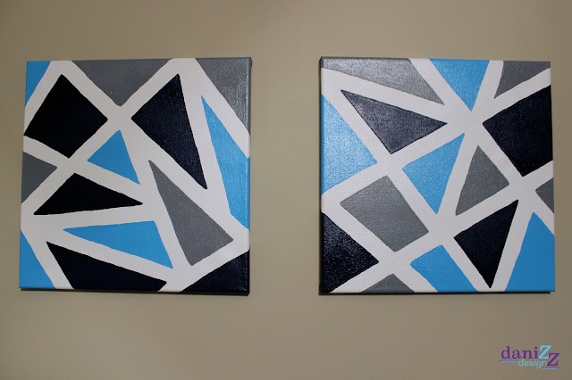 Geometric Wall Decor, Geometric Wall Decor using Painters Tape, Painters Tape, painter's tape art, painter's tape decor, painter's tape painting, painter's tape craft, easy wall decor, DIY Wall Decor, DIY paintings, DIY painting, geometric painting, geometric art, geometric canvas, triangle painting, navy painting, triangle decor, geometric nursery, geometric nursery decor, nursery decor, wall decor, simple wall decor