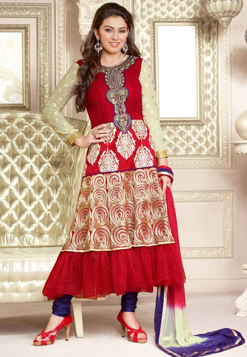Hansika Photoshoot Photos In Red Colour Salwar Kameez