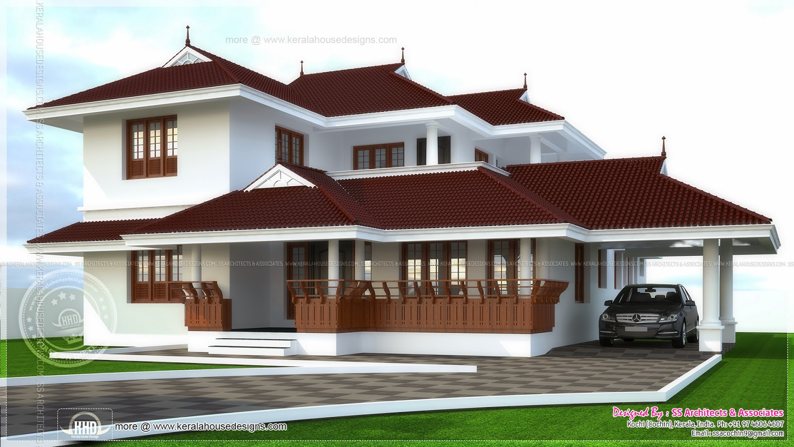 4 bedroom traditional kerala house design for Four bedroom kerala house plans