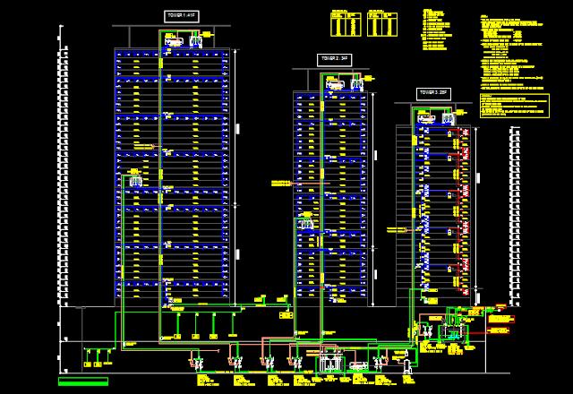 Gambar Kerja Skematik Air Bersih Bangunan Gedung File Dwg