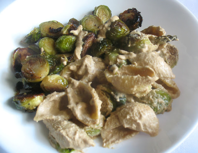 Vegan Cashew Alfredo Sauce with Crispy Roasted Brussels and Shell Pasta
