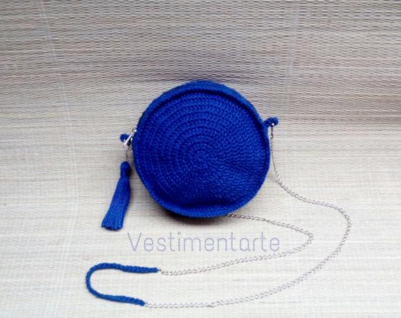 Bolsa Redonda Crochê Azul Corrente Comprar Online