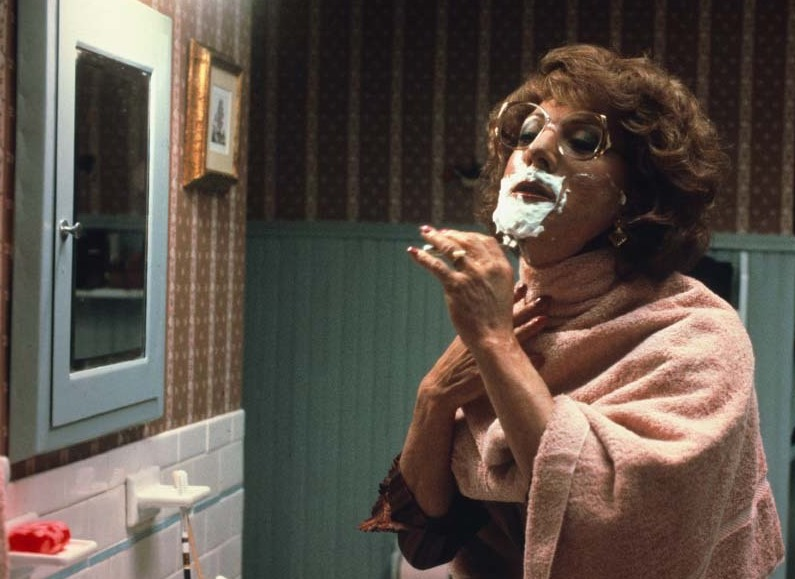 Dustin Hoffman dressed in drag as Tootsie while shaving. I don't believe in Hell and other stories of Hell. marchmatron.com