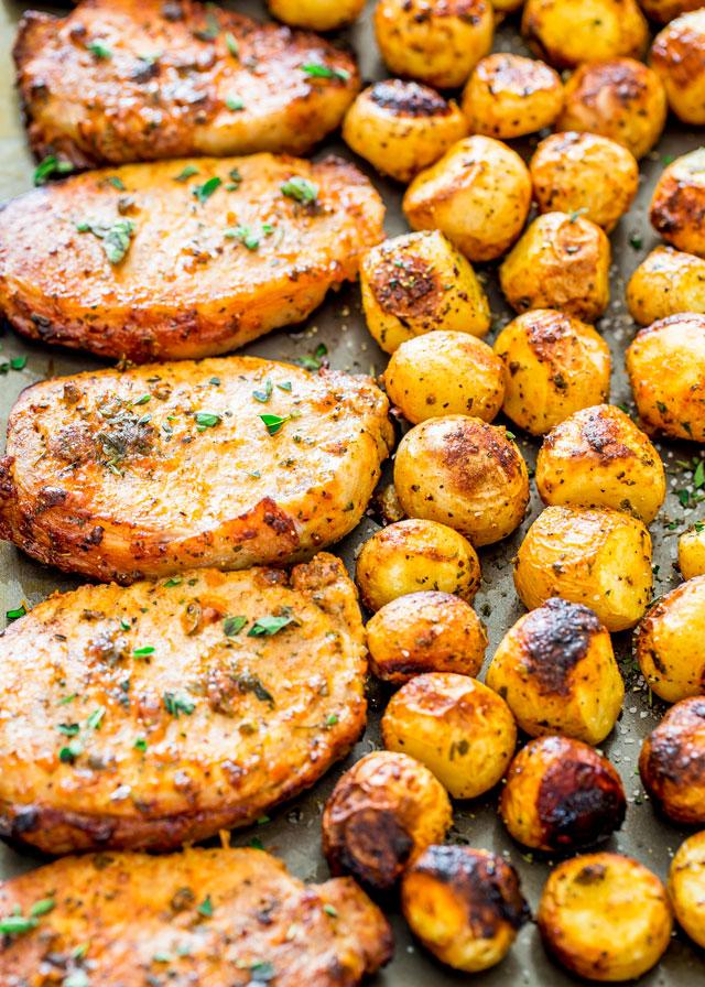 #Recipe : Ranch Pork Chops and Potatoes Sheet Pan Dinner