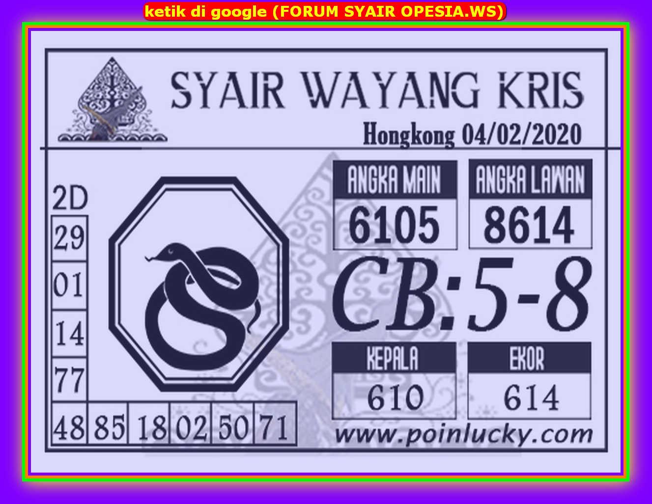 Kode syair Hongkong Selasa 4 Februari 2020 96