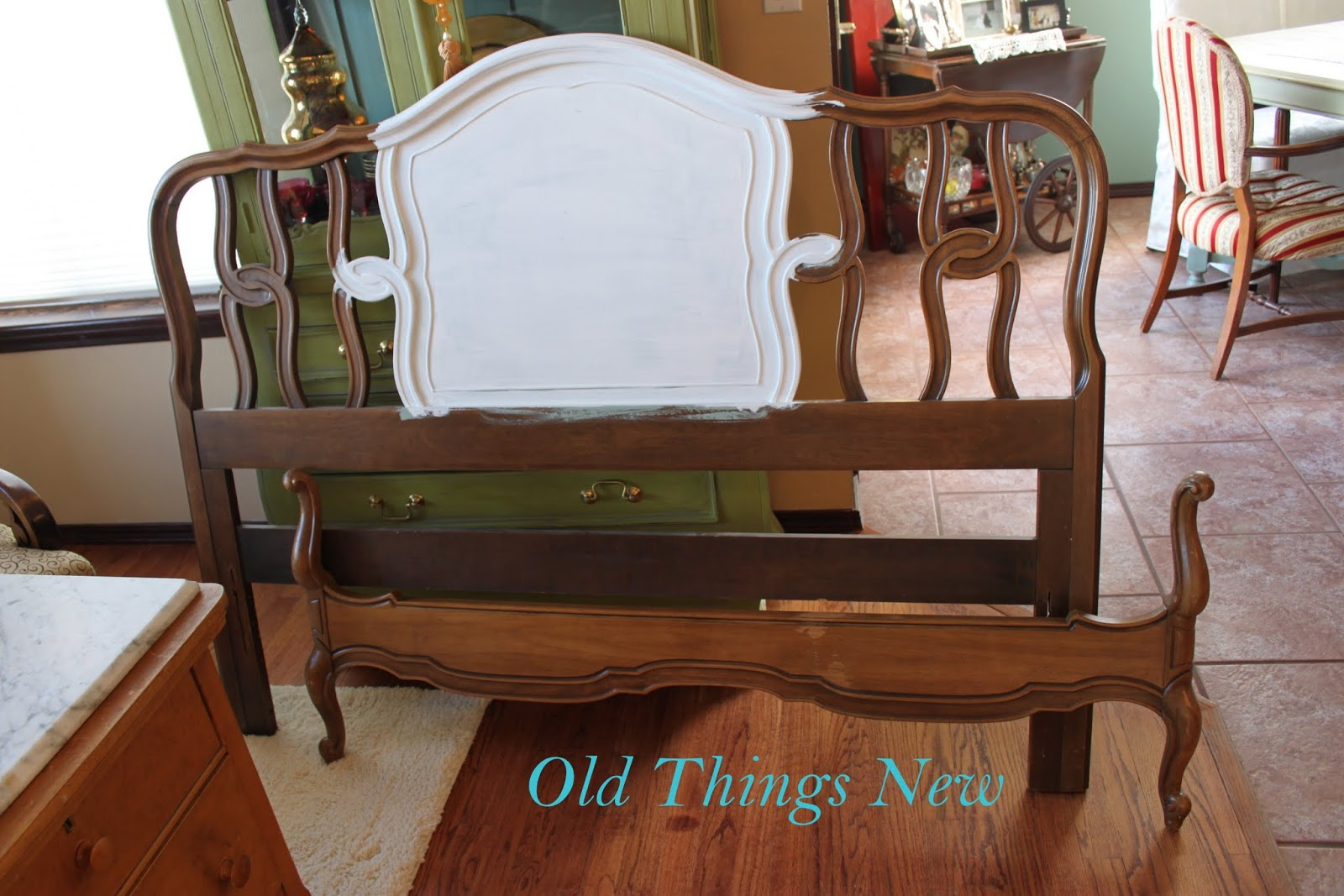 frenchy bed makeover old things new. Black Bedroom Furniture Sets. Home Design Ideas