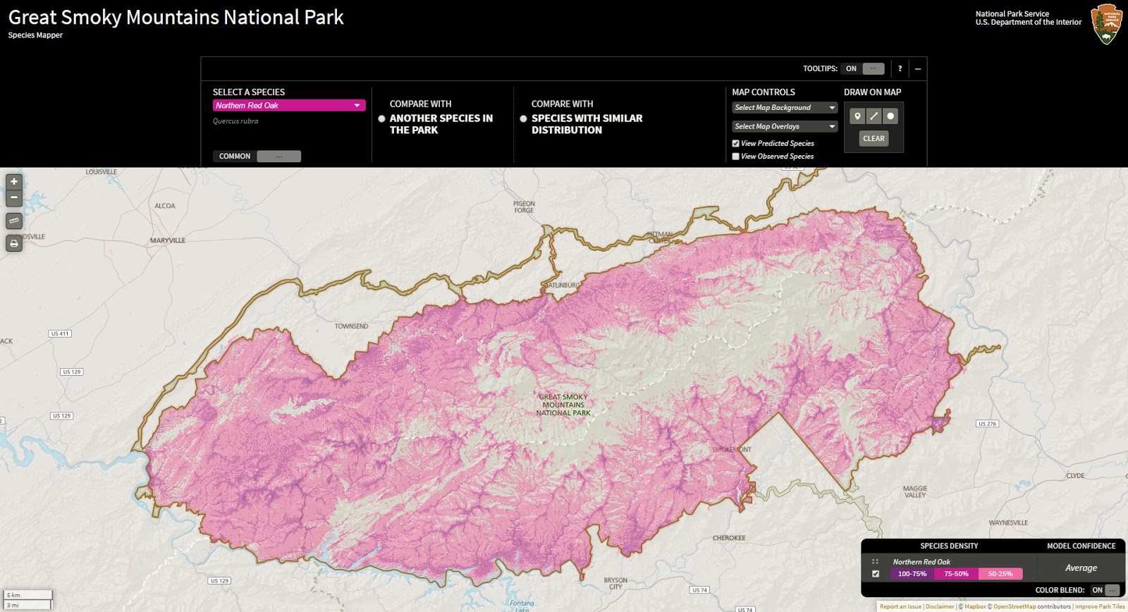 The Great Smoky Mountains National Park Species Map