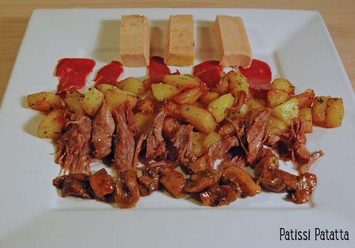 recette de l'assiette du sud-ouest, pommes de terre, magret fumé, foie gras, confit de canard, délice du sud-ouest, plat festif,cèpes, french South West duck, plat gastronomique, le canard dans tous ses états, canard dans l'assiette