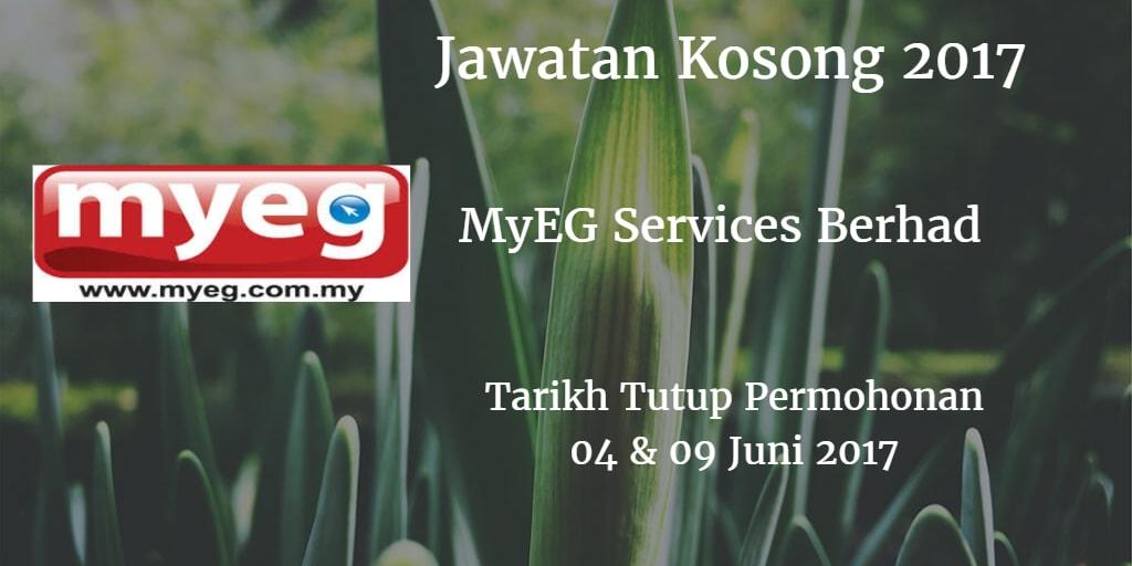 Jawatan Kosong MyEG Services Berhad 04 & 09 Juni 2017