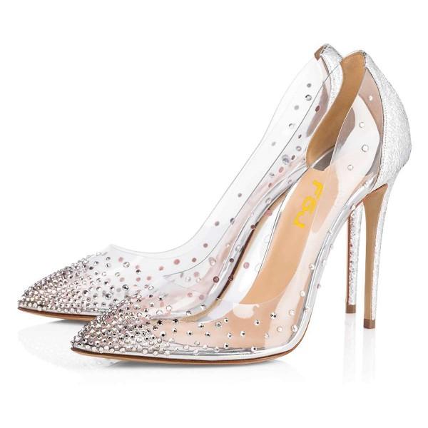 2ce0ea926c1a Silver Rhinestone Clear Pumps Stiletto Heels Wedding Shoes