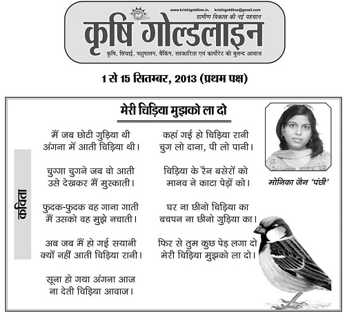 Poem on Sparrow Bird in Hindi