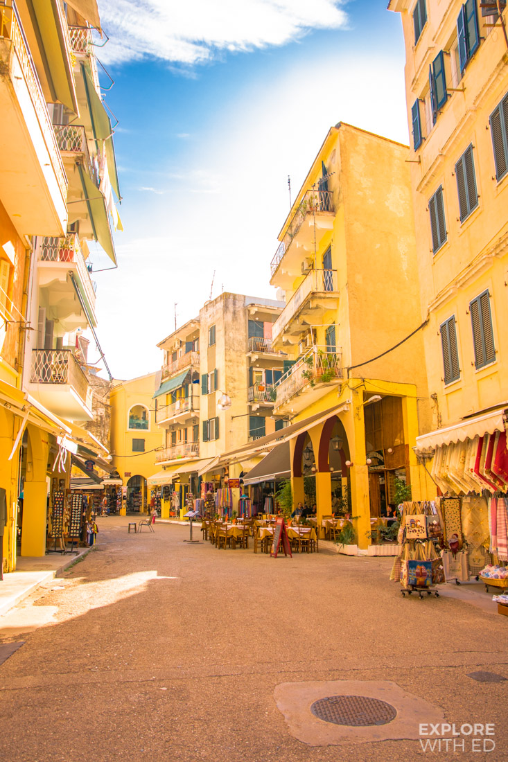Quiet shopping streets in Corfu Town