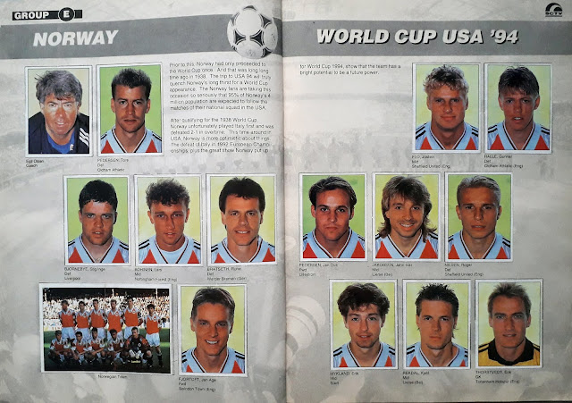 WORLD CUP USA '94 STICKER ALBUM COLLECTION GROUP E NORWAY