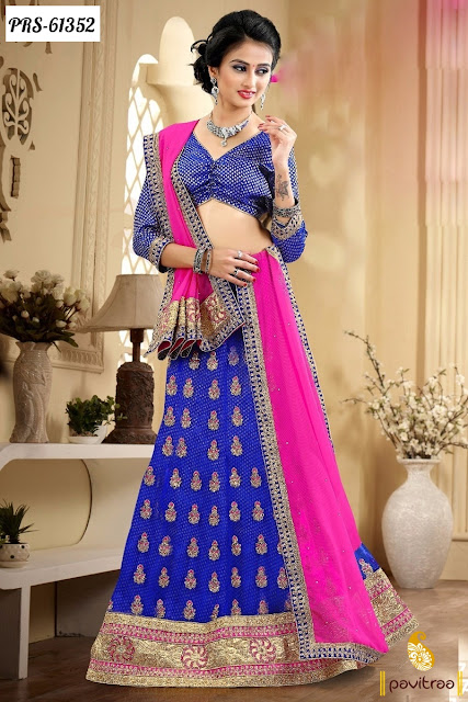 western style blue color chiffon lehenga style online shopping for girls at lowest prices in India