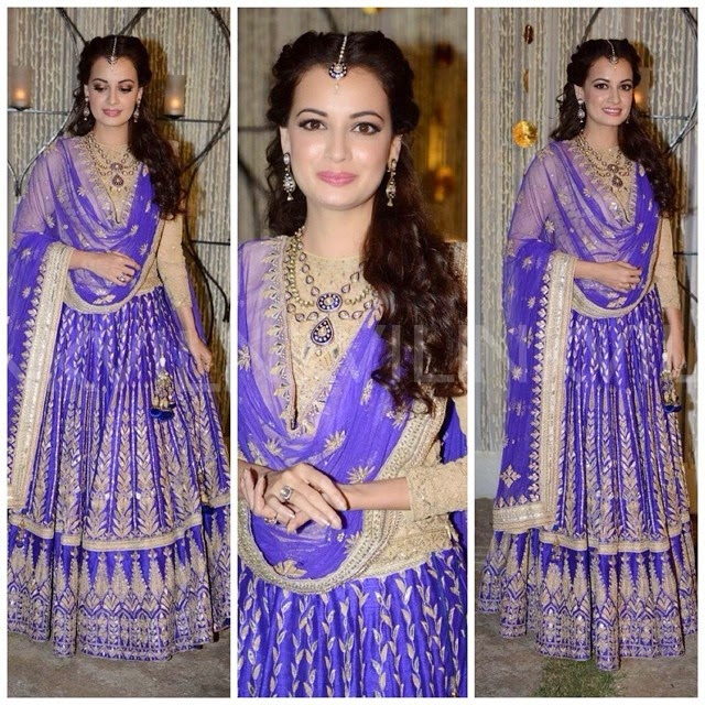regram @indianfashionnews dia mirza looks stunning in a blue and gold embroided lehanga by @anitadongre dia mirza, anita dongre, lehan a, couture, wedding dress, indian wear, bridal, bollywood actress, actress, jewell r, hair and makeup, pot d,  d,  d, indian wedding, indian fashion news,