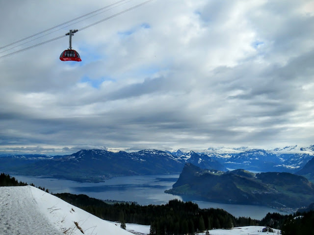 Long Winter Weekend Lucerne Switzerland - View of the Gondola and Lake Lucerne on Mount Pilatus