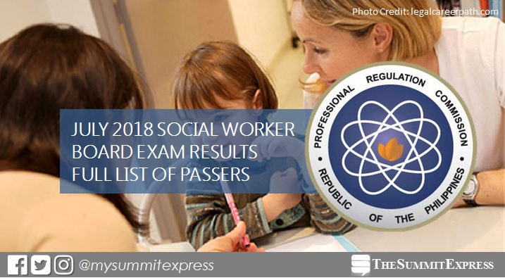 July 2018 Social Worker board exam list of passers, top 10
