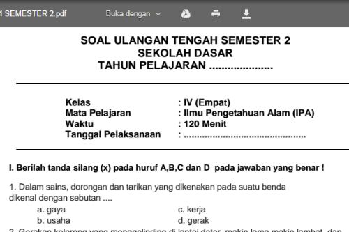 Soal Latihan Uts Ipa Kelas 4 Sd Mi Semester 2