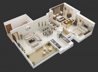 Insprasi 25 Denah Desain Rumah Modern 3D Sederhana dan Minimalis 3 Kamar