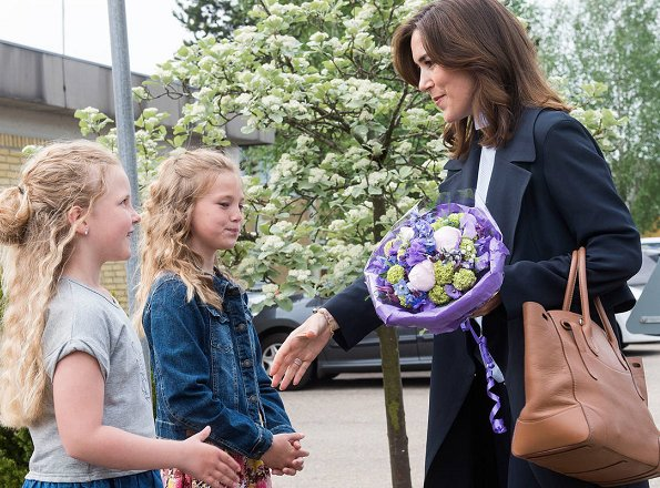 Crown Princess Mary wore MaxMara Wool Coat, Gianvito Rossi Blue Suede Pump and carried Ralph Lauren Satchel Bag