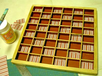 mod podge paper into boxes