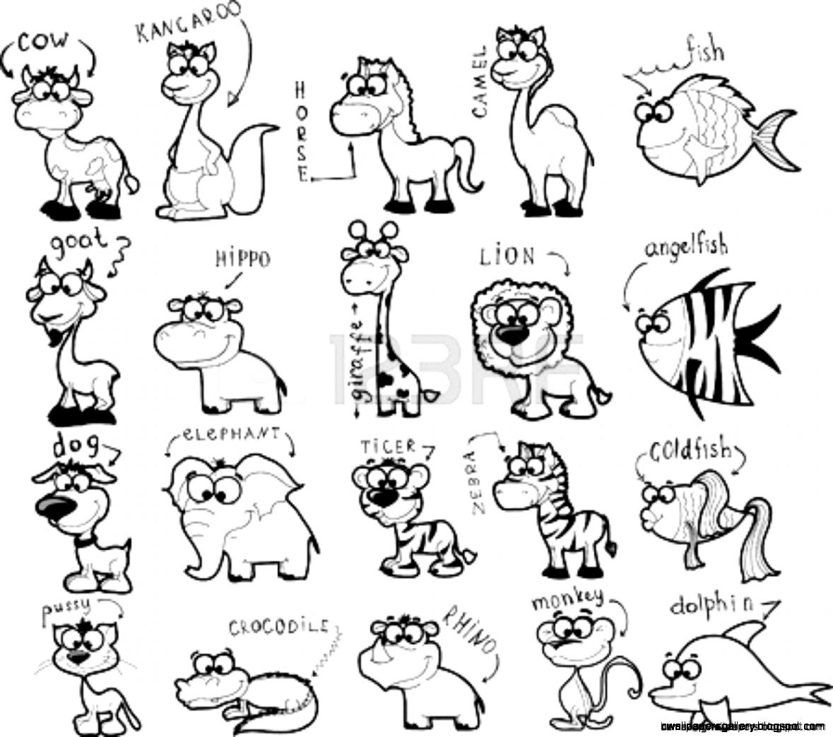 Rainforest Animals Clipart Black And White